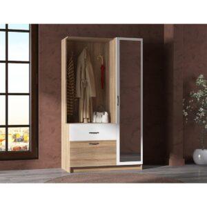 Mobila hol Nova Modella cu oglinda, Stejar natur/alb,