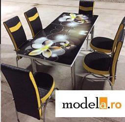 Set masa blat sticla+6 scaune Galben negru Flor piele eco