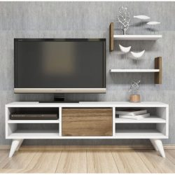 Comoda tv cu 2 rafturi Ayfa alb/nuc