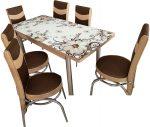 Set masa blat sticla+6 scaune Precious moments maro floral