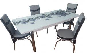 Set masa blat sticla+6 scaune  gri stele
