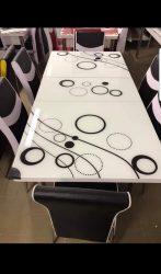 Set Masa extensibila cu 6 scaune BUBBLE pentru bucatarie   alb/negru, 170x80x70 cm, blat sticla securizata, scaune piele eco, cod produs 16ste