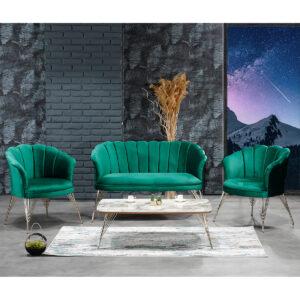 Set Canapea cu doua fotolii pentru cafea, Margareta Modela, Verde, 130 x 75 x 81 cm