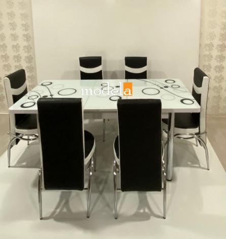 Set Masa extensibila cu 6 scaune Bubble pentru bucatarie