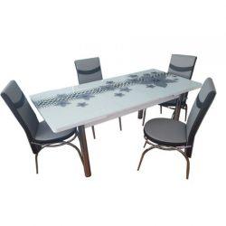 Set Masa extensibila geam securizat + 6 scaune Silver Glam Modella, gri/alb, 170x80x70 cm, blat sticla securizata, scaune piele eco, cod produs SglmH25