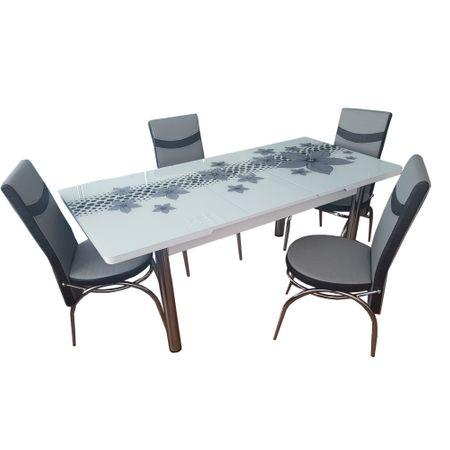 Set Masa extensibila geam securizat + 6 scaune Silver Glam Modella