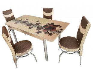 Set Masa extensibila cu 6 scaune pentru bucatarie Star Modella, bej/maro, 170x80x70 cm, blat sticla securizata, scaune piele eco, cod produs 16ste