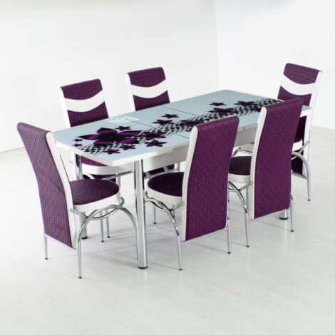 Set masa extensibila cu blat geam securizat Purple Hollywood