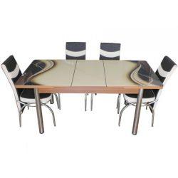 Set masa extensibila cu 6 scaune Modella cod 1451 Cappuccino/Maro