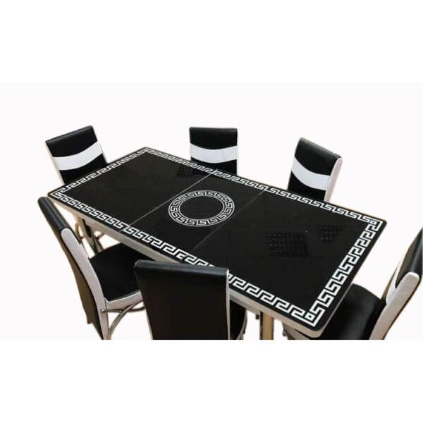 Set Masa extensibila 6 pers blat sticla+6 scaune piele eco Elt Modella,Alb negru vrsc