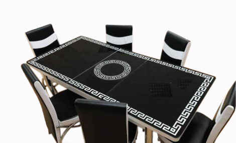 Set Masa extensibila 6 pers blat sticla+6 scaune piele eco Elt Modella,Alb negru set