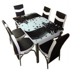 Set Masa extensibila 6 pers blat sticla securizata +6 scaune piele eco Elt Modella alb/negru model floral , 170 x 80 x 70 cm, cod produs STSYHCCK