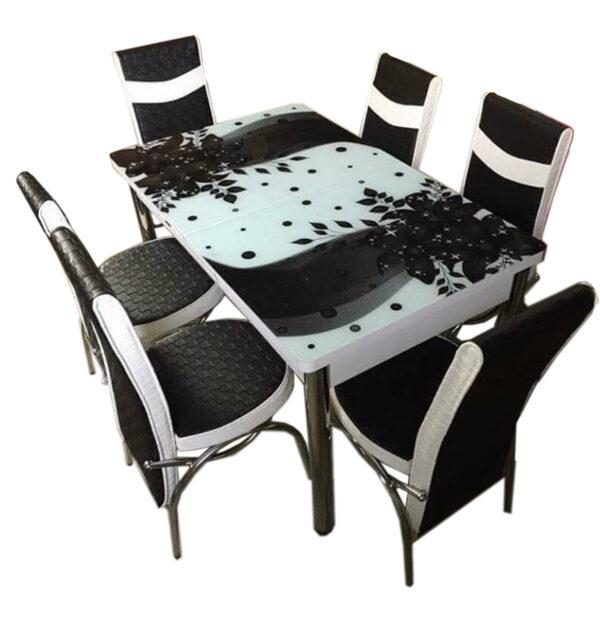 Set Masa extensibila +6 scaune piele eco Elt Modella alb/negru