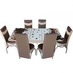Set masa extensibila si 6 scaune Elt Modella, blat sticla, 170 x 80 x 70 cm, decor floral, STMASAMROFLR06Capuccino, cod produs