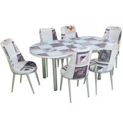 Set masa extensibila ELEGANT MDF + 6 scaune New Design Modella 170x80x77 cm, blat sticla securizata, scaune material textil, cod produs mcov235