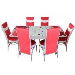 Set masa extensibila si 6 scaune Elt Modella, blat sticla, 170 x 80 x 70 cm, decor floral, Rosu, cod produs STM6SELTRSUFLR06