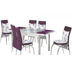 Set masa extensibila si 6 scaune Elt Modella, blat sticla