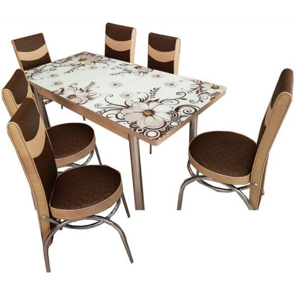 Set masa extensibila cu 6 scaune Precious Moments , maro/crem