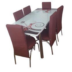 Set masa extensibila si 6 scaune Elt Modella, blat sticla, 170 x 80 x 70 cm, decor floral, visniu