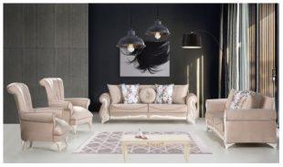 Set canapele 3+1+1 Basak bej Elegant si cu un design boem, acest set canapele 3+1+1 Basak te trimite cu gandul la decorurile imperiale. Modelul actual se axeaza