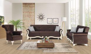 Set canapele 3+3+1 Hurrem maro Elegant si cu un design boem, acest set canapele 3+3+1 te trimite cu gandul la decorurile imperiale. Modelul actual se axeaza pe liniile