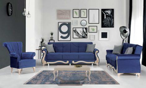 Set canapele 3+3+1 Hurrem albastru