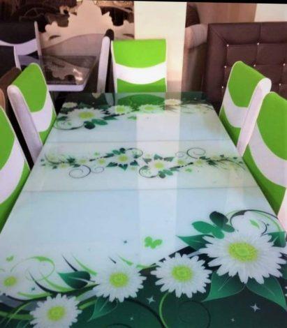 Set masa blat sticla+6 scaune VERDE MUSETEL