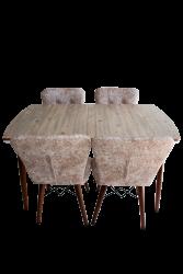 Set masa Elegant Natur MDF picioare lemn + 4 scaune , 160x80x75 cm, blat de mdf, scaune material textil, cod produs E1