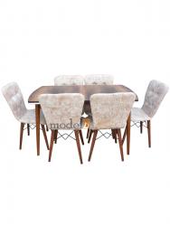 Set masa Elegant Natur MDF picioare lemn + 6 scaune , 160x80x75 cm, blat de mdf, scaune material textil, cod produs E3
