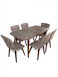Set masa Elegant Natur MDF picioare lemn + 6 scaune , 160x80x75 cm, blat de mdf, scaune material textil, cod produs E2