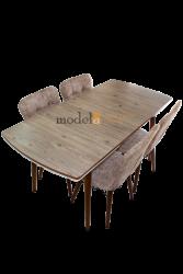 Set masa Natur MDF picioare lemn +4 scaune