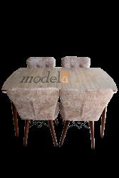 Set masa Elegant Natur MDF picioare lemn + 4 scaune , 160x80x75 cm, blat de mdf, scaune material textil, cod produs E3