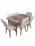 Set masa Natur MDF picioare lemn +6 scaune