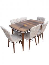Set masa Nuc Elegant MDF picioare lemn + 6 scaune , 160x75x75 cm, blat de mdf, scaune material textil, cod produs E6