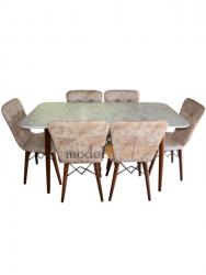 Set masa Elegant Marmura MDF picioare lemn + 6 scaune , 160x80x75 cm, blat de mdf, scaune material textil, cod produs E3
