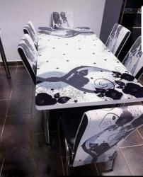 Set masa extensibila si 6 scaune Modella, blat sticla, 170 x 80 x 70 cm, Valuri Alb-Negru