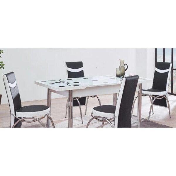 Set Masa extensibila +6 scaune piele eco Modella alb/negru buline.