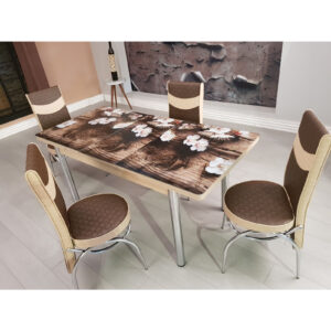 Set masa extensibila cu 6 scaune Modella, blat sticla, 170 x 80 x 70 cm, flori de ciresi