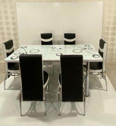 Set Masa extensibila cu 6 scaune BUBBLE pentru bucatarie alba, 170x80x70 cm, blat sticla securizata, scaune piele eco