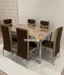 Set Masa extensibila cu 4 scaune BUBBLE pentru bucatarie capucino, 170x80x70 cm, blat sticla securizata, scaune piele eco