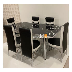 Set Masa extensibila cu 6 scaune BUBBLE pentru bucatarie negru, 170x80x70 cm, blat sticla securizata, scaune piele eco
