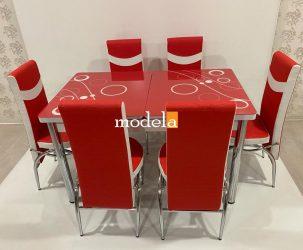 Set Masa extensibila cu 6 scaune BUBBLE pentru bucatarie rosu, 170x80x70 cm, blat sticla securizata, scaune piele eco