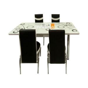 Set Masa extensibila cu 4 scaune BUBBLE alba / 170x80x70 cm