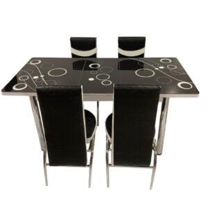 Set Masa extensibila cu 4 scaune BUBBLE pentru bucatarie negru, 170x80x70 cm, blat sticla securizata, scaune piele eco