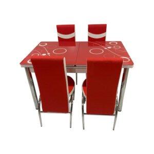 Set Masa extensibila cu 4 scaune BUBBLE pentru bucatarie rosu, 170x80x70 cm, blat sticla securizata, scaune piele eco