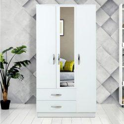 Șifonier Modella Meissa cu 3 uși cu 2 sertare si oglindă - alb