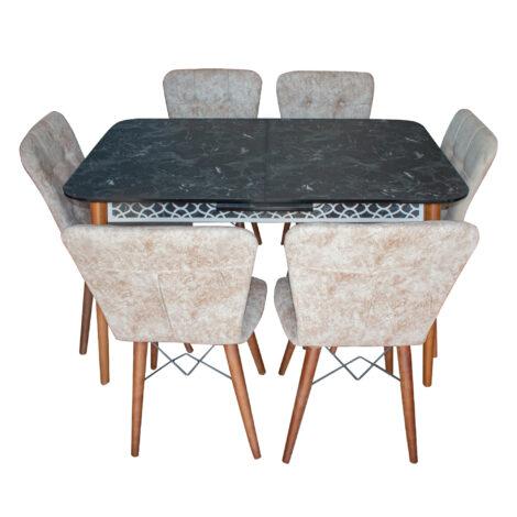 Set masa Marmura neagra MDF picioare lemn +6 scaune