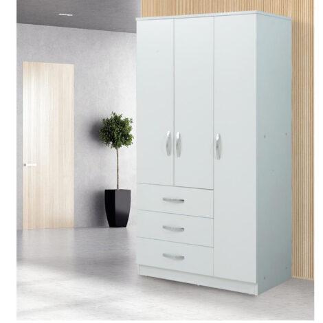 Dulap Chic Meissa Modella cu 3 uși, 3 sertare, alb