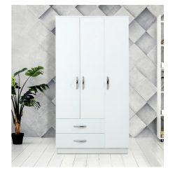 Șifonier  Modella Meissa cu 3 uși cu 2 sertare – alb