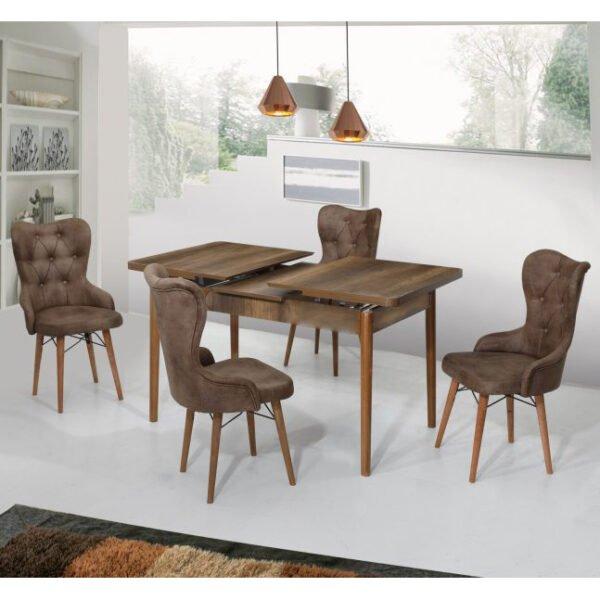 Set Masa Extensibila Lord Modella , maro cu 4 scaune